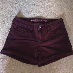 Maroon jean shorts -SOLD